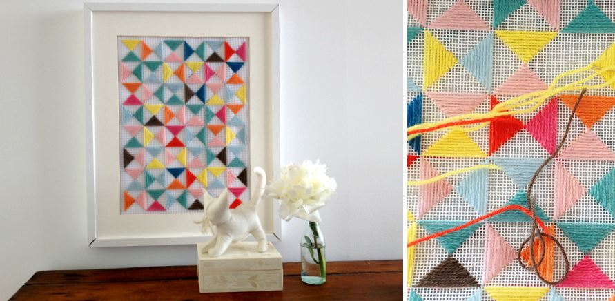 Geometric embroidery from She Makes a Home
