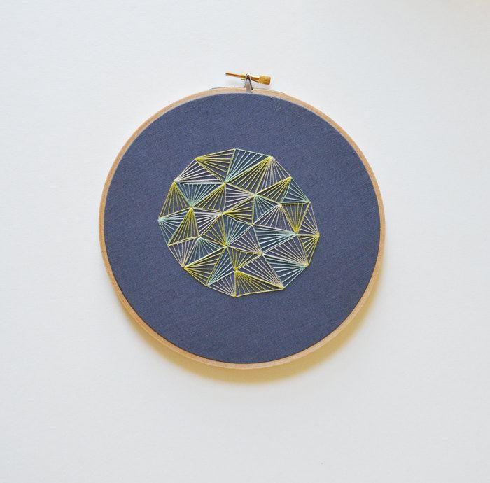Geometric hoop art by Sarah K. Benning