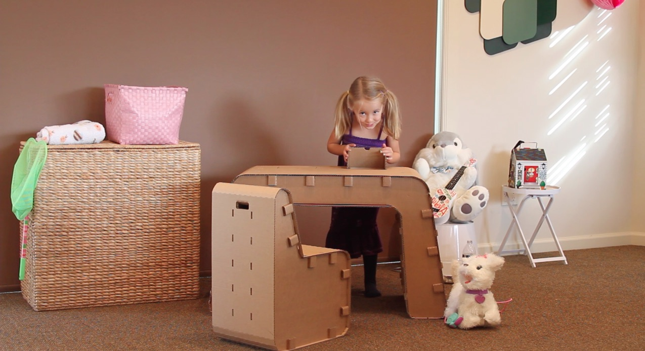 Recycled Cardboard Imagination Desk and Chair: Let Your Kids Creativity Take Over!