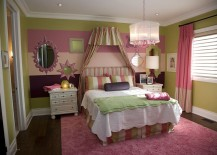 Girls' bedroom with a striped accent wall