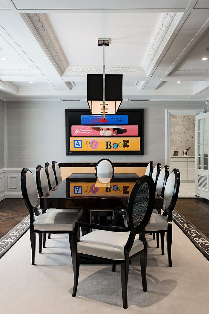 Glossy table in black steals the show here! [Design: Britto Charette Interiors]