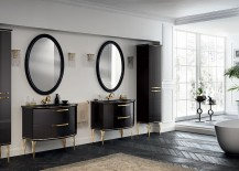 Gold and black is the perfect combination for the bold, sophisticated bathroom