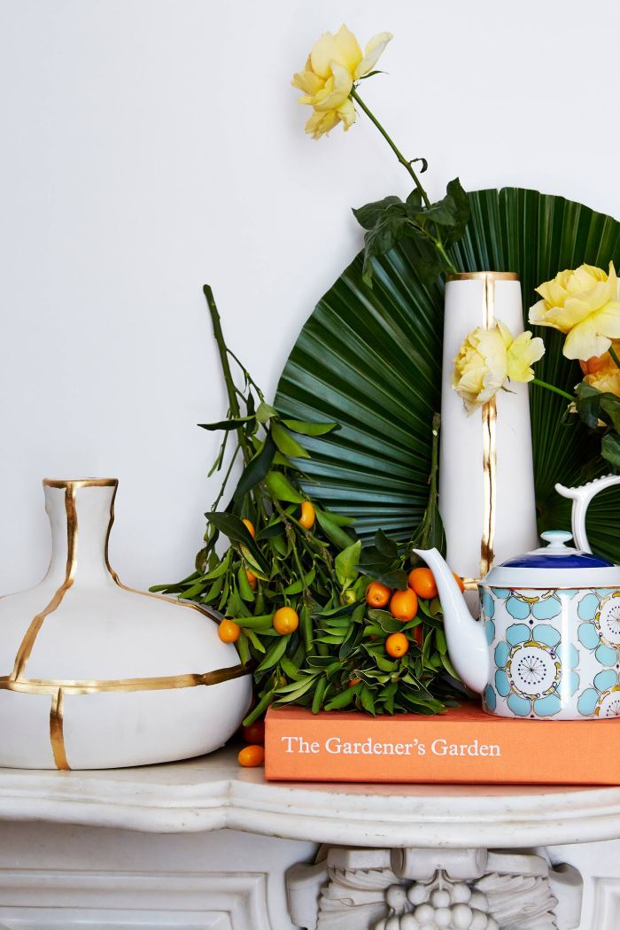 Gold and white vase from Anthropologie