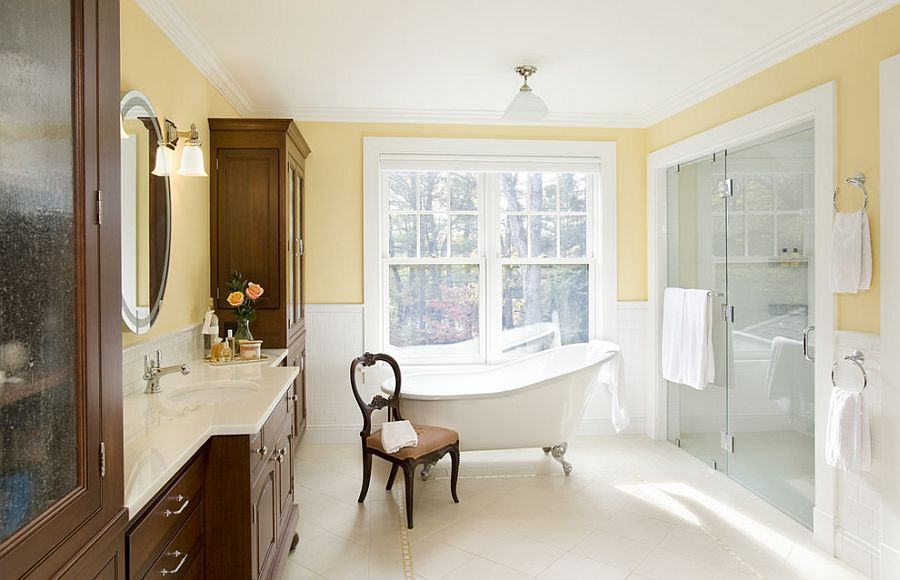 Gorgeous bathroom uses yellow in a charming, traditional fashion [Design: LDa Architecture & Interiors]