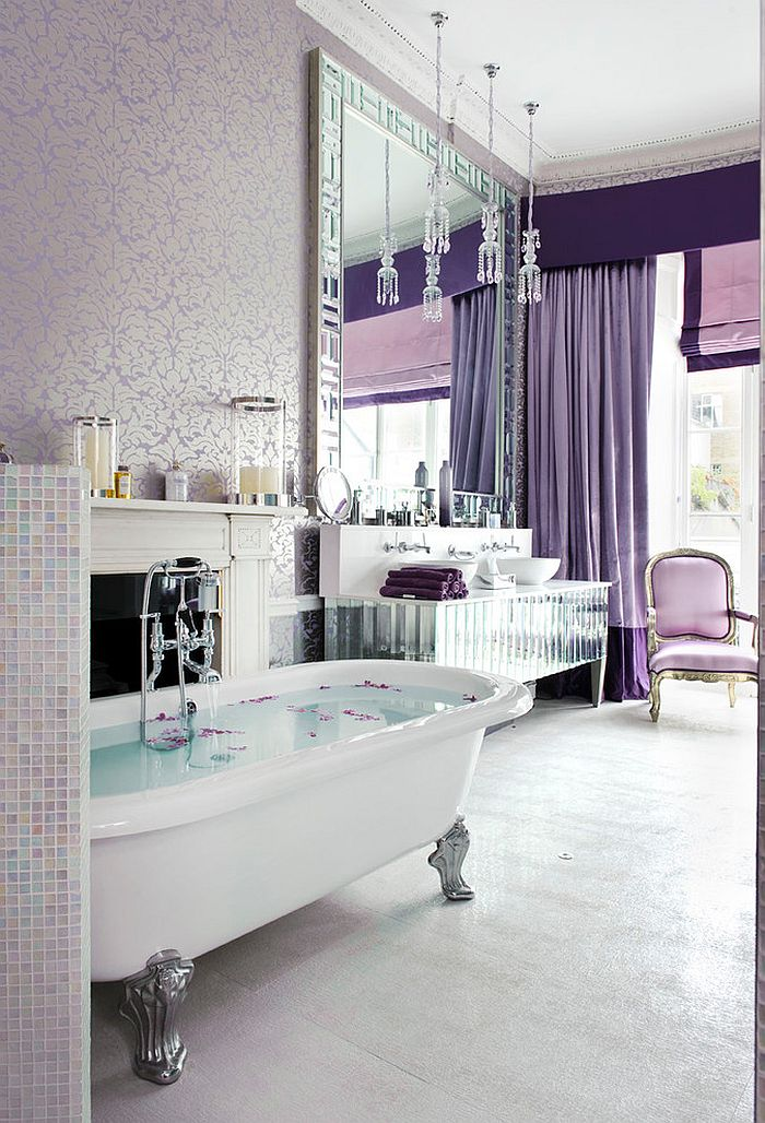 gorgeous bathroom with purple glam dips into the magic of luxe wallpaper design