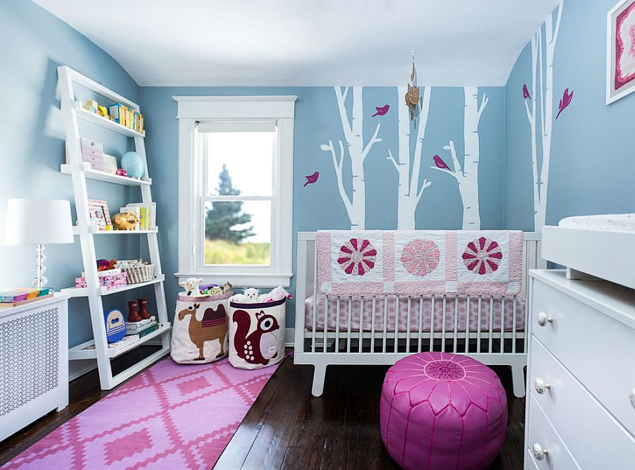 Gorgeous blue nursery with a woodsy theme and a touch of pink [Photography: Stefan Radtke / Design: Erika Mercurio]