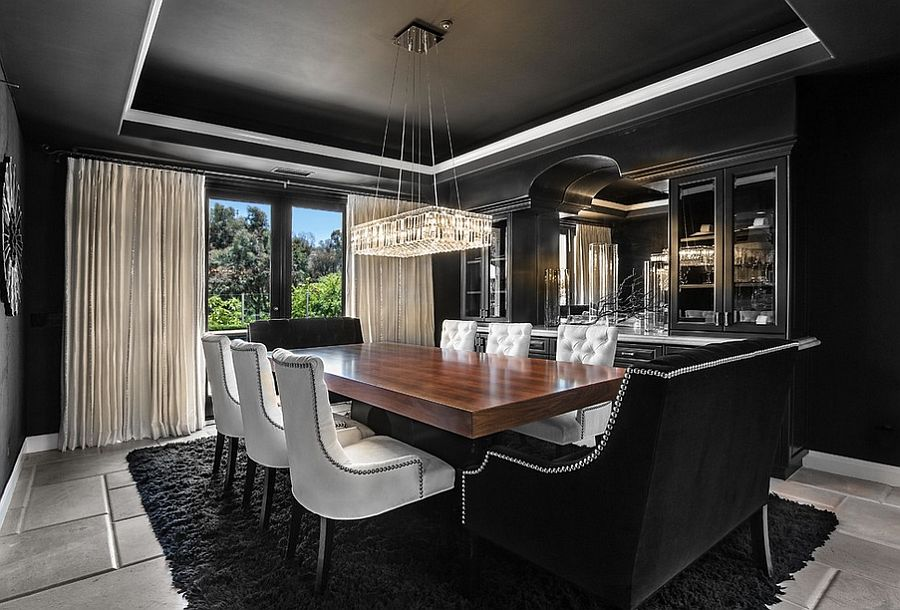 How to use black to create a stunning refined dining room for Orange dining room design ideas