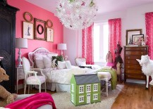 Gorgeous girls' bedroom with pink accent wall