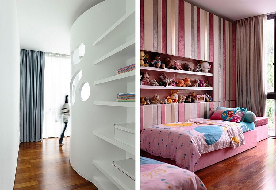 Gorgeous kids' bedroom with custom-designed shelves