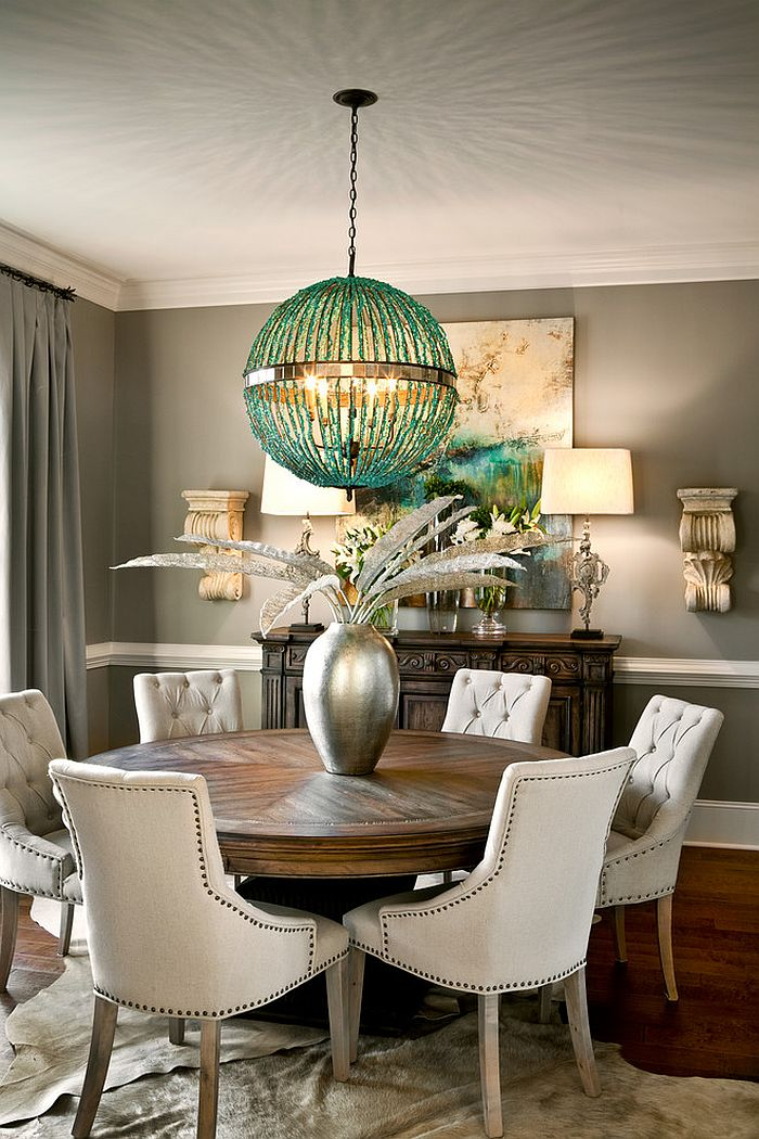 Graphite gray backdrop allows the pendant to shine through [Design: LGB Interiors]
