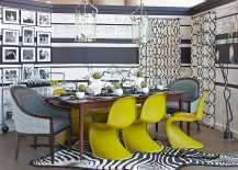 Gray-and-white-provide-the-perfect-backdrop-of-brilliant-accent-hues-in-the-dining-room-217x155