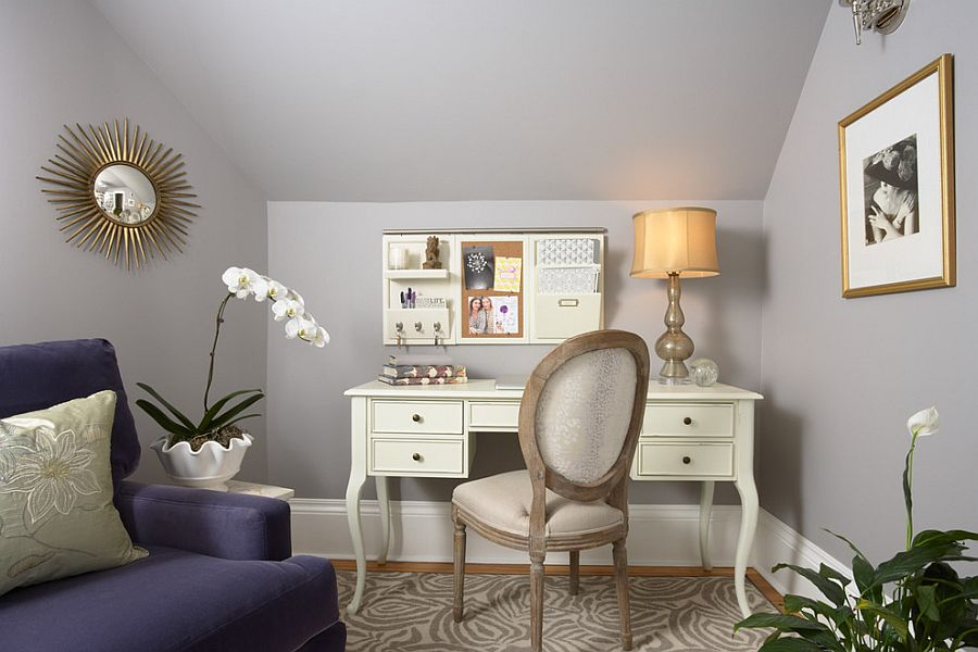 Gray, cream and lavender combine to create a feminine home office [Design: LiLu Interiors]