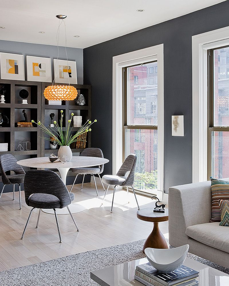 Gray is an ideal backdrop for open plan living spaces [Design: Ana Donohue Interiors]