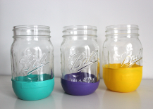 Green Purple and Yellow Mason Jars