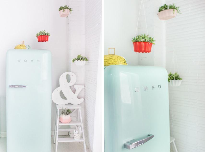 Hanging bundt cake pan planters from Sugar & Cloth