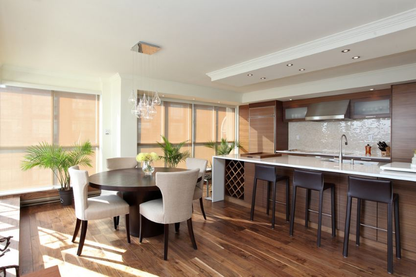 Hardwood flooring in a luxury condo
