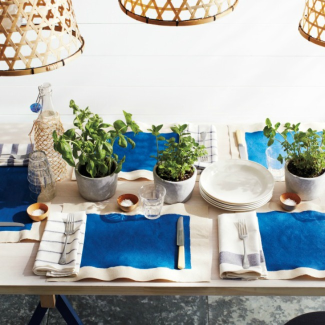 A simple blue and white and green tablescape