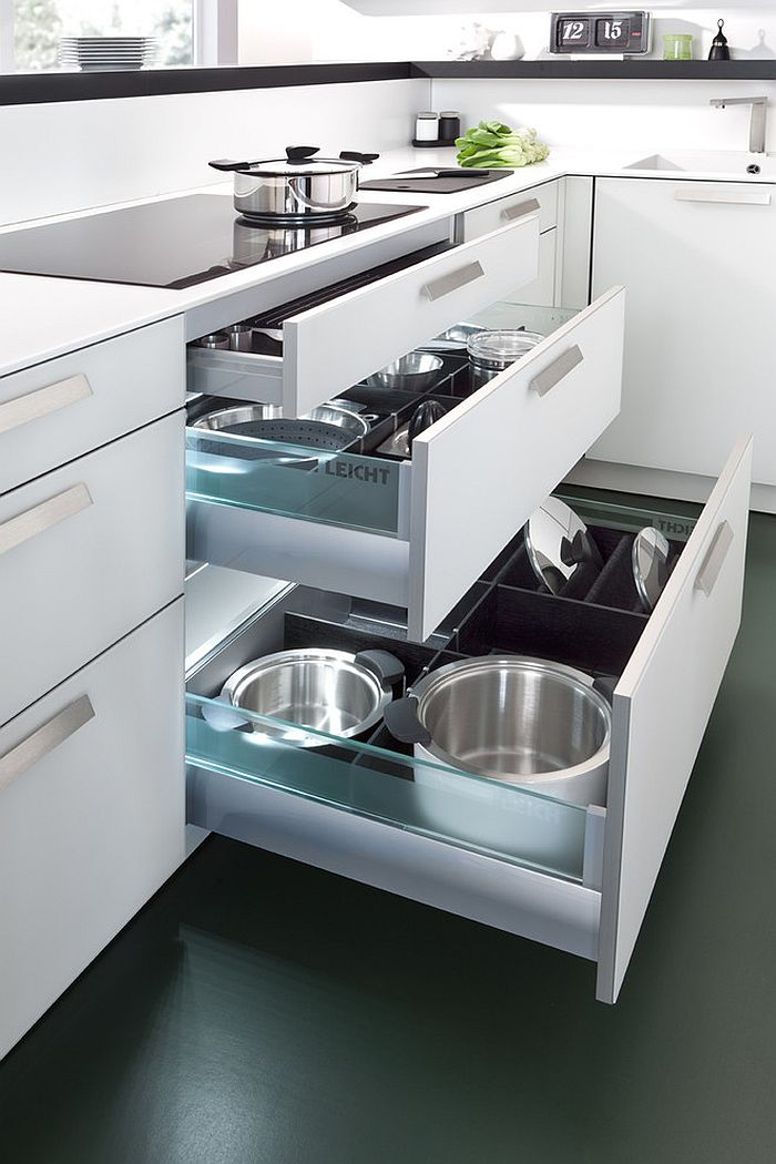 Modern space saving kitchen storage and shelving ideas Handleless kitchen drawers design
