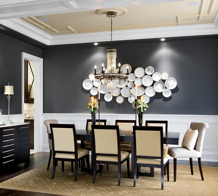 Highlight wall art or a sculptural masterpiece with a gray backdrop [Design: Jane Lockhart Interior Design]