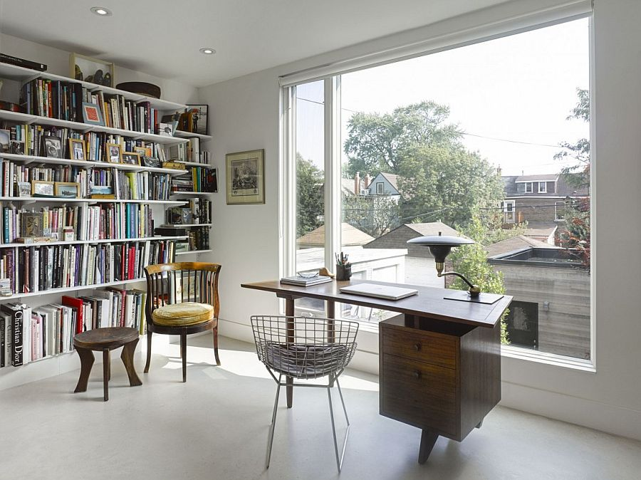 Home office with ample storage space for books