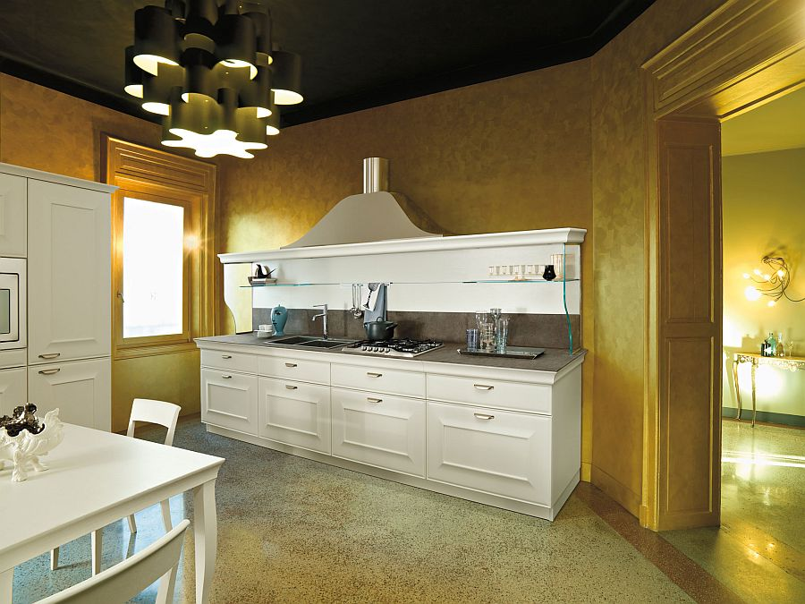 Interesting use of gold in the contemporary kitchen