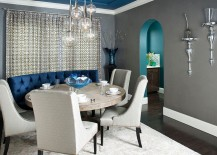 Interesting use of gray and blue in the dining room