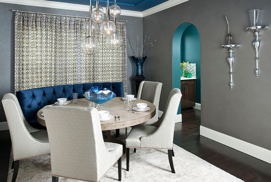 Interesting use of gray and blue in the dining room [Design: RSVP Design Services]