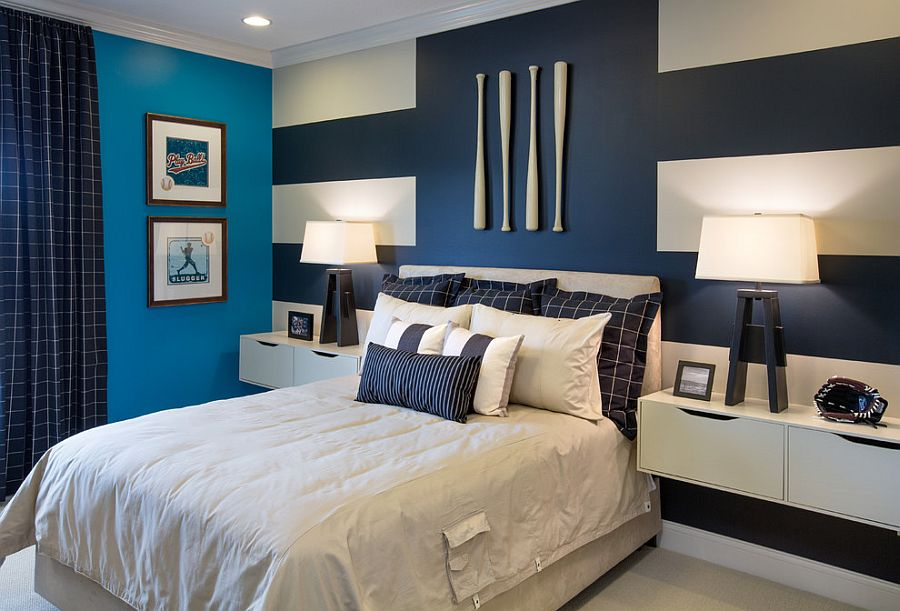 Interesting use of stripes to create a truly unique accent wall [Design: Mary Cook]