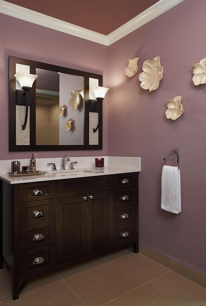 23 amazing purple bathroom ideas photos inspirations for Dark paint colors for bathroom vanity