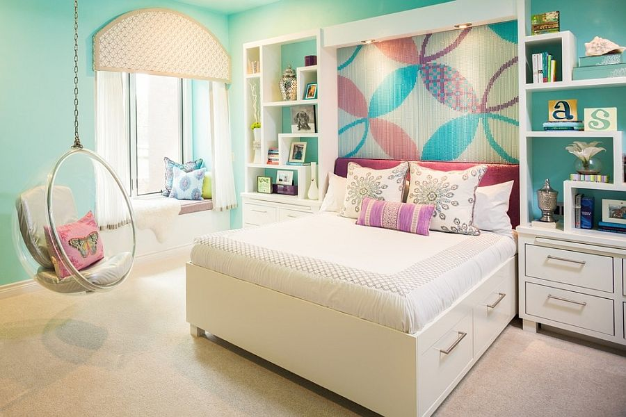 Kids bedroom with chain accent wall feature can be easily transformed into an adult space