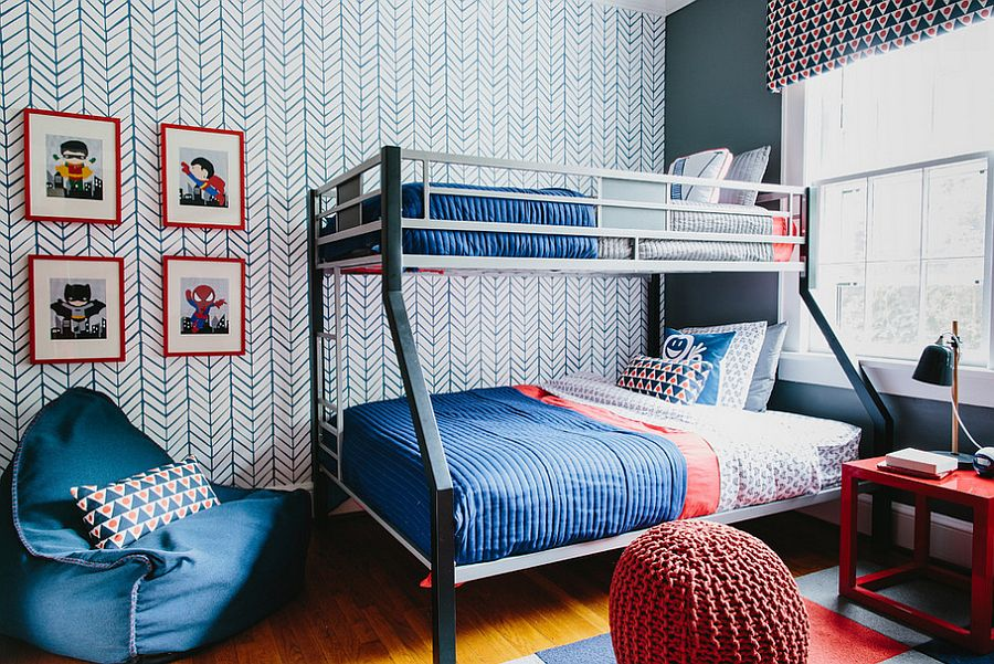 Kids' bedroom with chevron pattern accent wallpaper and bunk bed [Design: Colordrunk Designs]