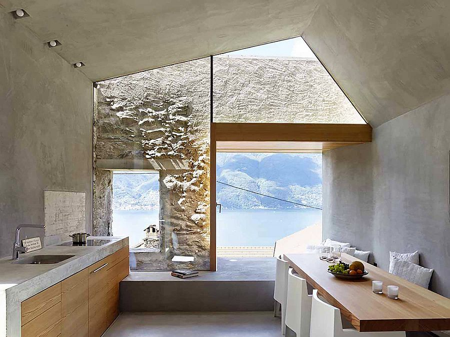 Kitchen and dining area of the Swiss house overlooking the lake