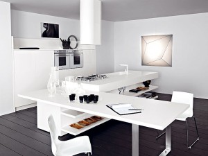 Kitchen island in white with extended dining table