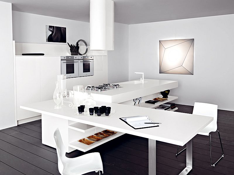 View In Gallery Kitchen Island In White With Extended Dining Table