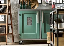 Lacquered metal handles and custom crafted doors for the cabinets