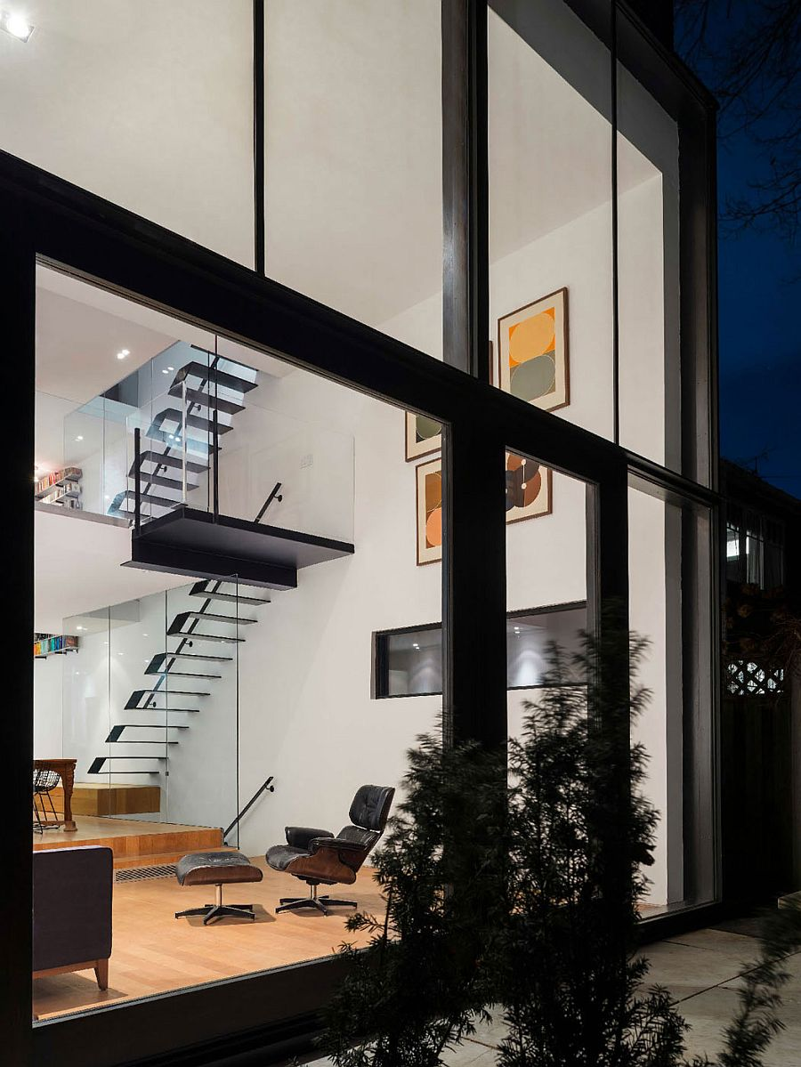 Large glass extension adds to the living area of the 1900s home