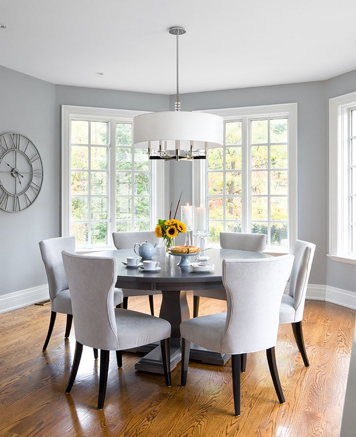 Light gray in the dining room is perfect for those who prefer a more airy ambiance [Design: Jane Lockhart Interior Design]