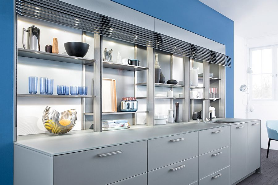 Lighting accentuates the beuaty of gorgeous open kitchen shelves and display