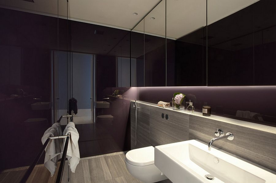 Lighting Steals The Show In This Dark Purple Bathroom Design Smart Design Studio