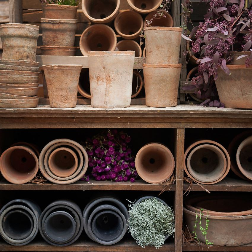 Linen-wrapped pots from Terrain
