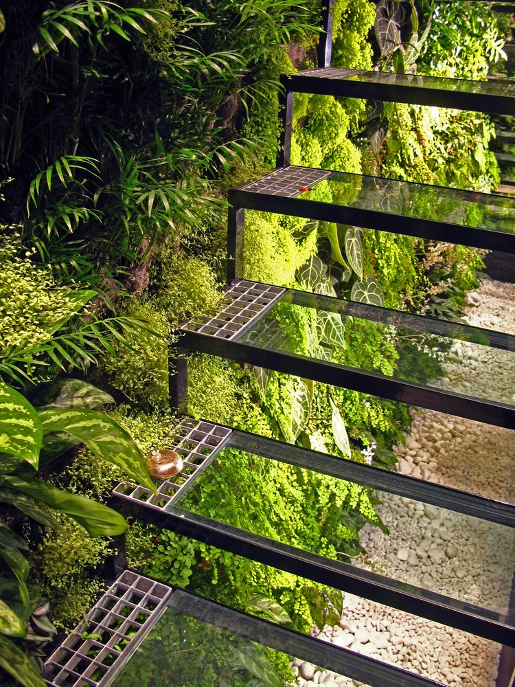 Living Wall and Glass Staircase