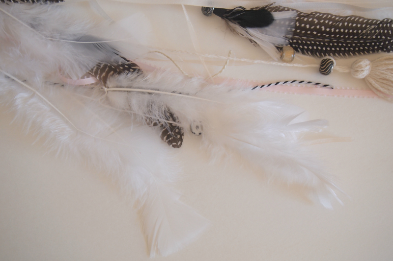 Loose beads and feathers used for the dreamcatcher