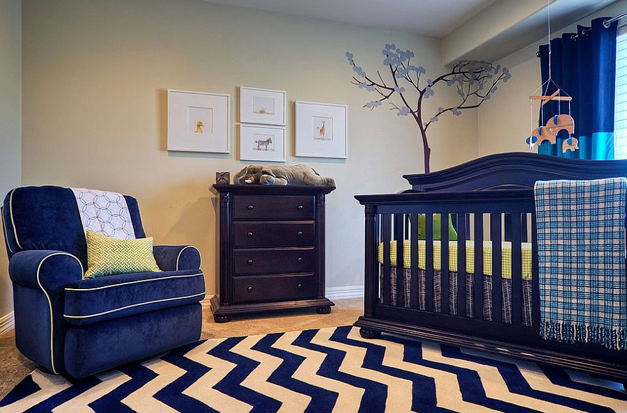 Lovely blend of patterns enlivens the blue nursery [Design: La Casa Azul Design]