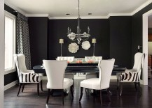Lovely use of black and white in the dining room