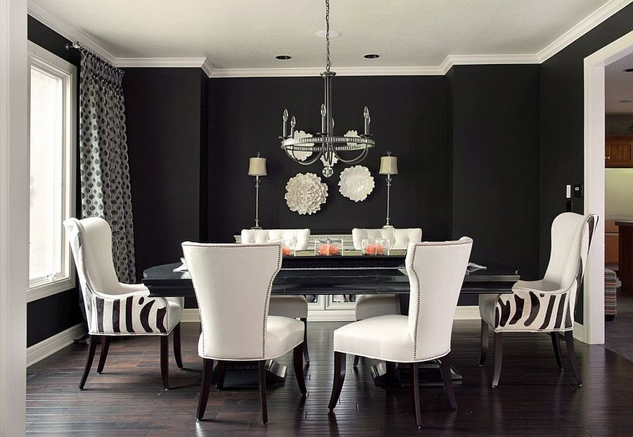 Refined Elegance Black Living Room Set ... Lovely use of black and white in the dining room [Design: Kathleen  Ramsey]