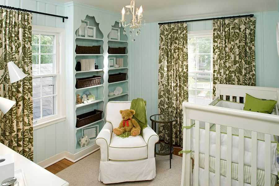 Lovely use of light blue and green in the modern nursery