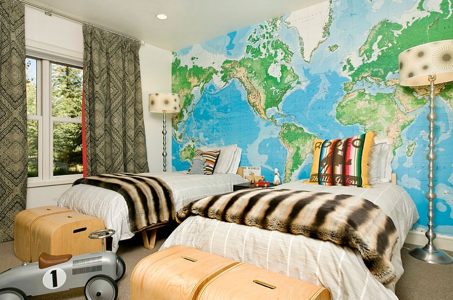 Map accent wall in the kids' bedroom is a popular choice [Design: Grace Home Design]