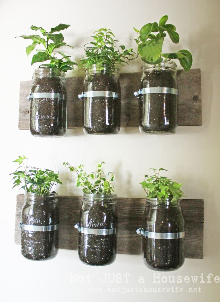 Mason jar wall holder from Not Just a Housewife