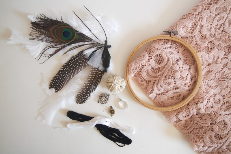 Materials required to craft your own Dreamcatcher DIY: A Pretty {& Easy} Dreamcatcher