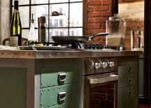 Metallic hinges, handles and solid painted wood drawers of the vintage kitchen island